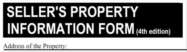 Typical title block on a Seller's Property Information Form