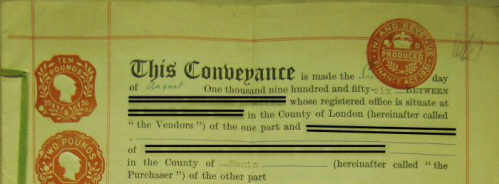 conveyance deed: example of the top fo the firsdt page